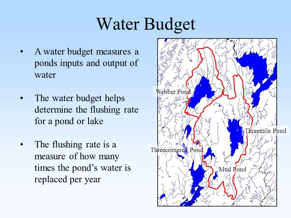 Water Budget Threemile Pond Mud Pond Threecornered Pond Webber Pond A water budget measures a ponds inputs and output of water The water budget helps determine the flushing rate for a pond or lake The flushing rate is a measure of how many times the pond's water is replaced per year