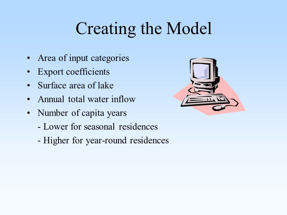 Creating the Model Area of input categories Export coefficients Surface area of lake Annual total water inflow Number of capita years - Lower for seasonal residences - Higher for year-round residences
