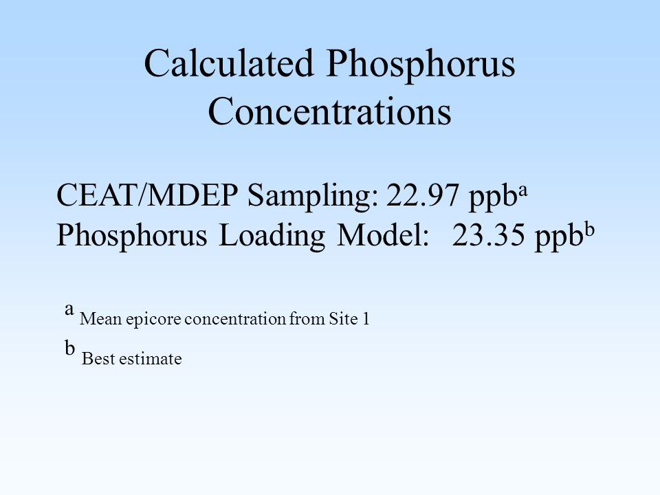 Calculated Phosphorus Concentrations CEAT/MDEP Sampling:22.97 ppb a Phosphorus Loading Model:23.35 ppb b a Mean epicore concentration from Site 1 b Best estimate
