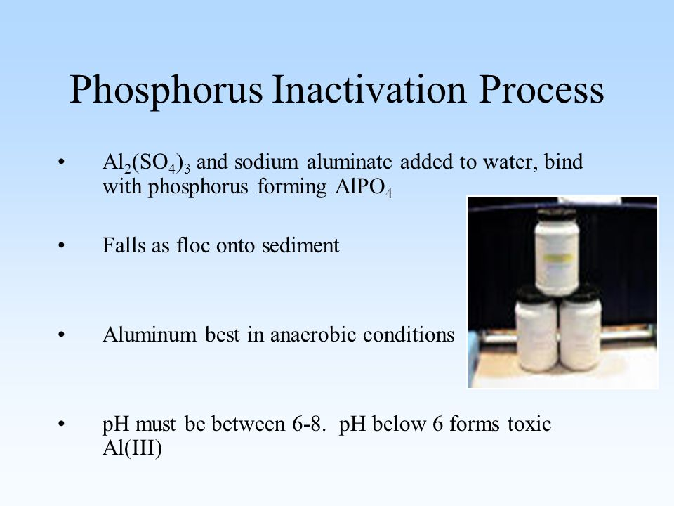 Phosphorus Inactivation Process Al 2 (SO 4 ) 3 and sodium aluminate added to water, bind with phosphorus forming AlPO 4 Falls as floc onto sediment Aluminum best in anaerobic conditions pH must be between 6-8.