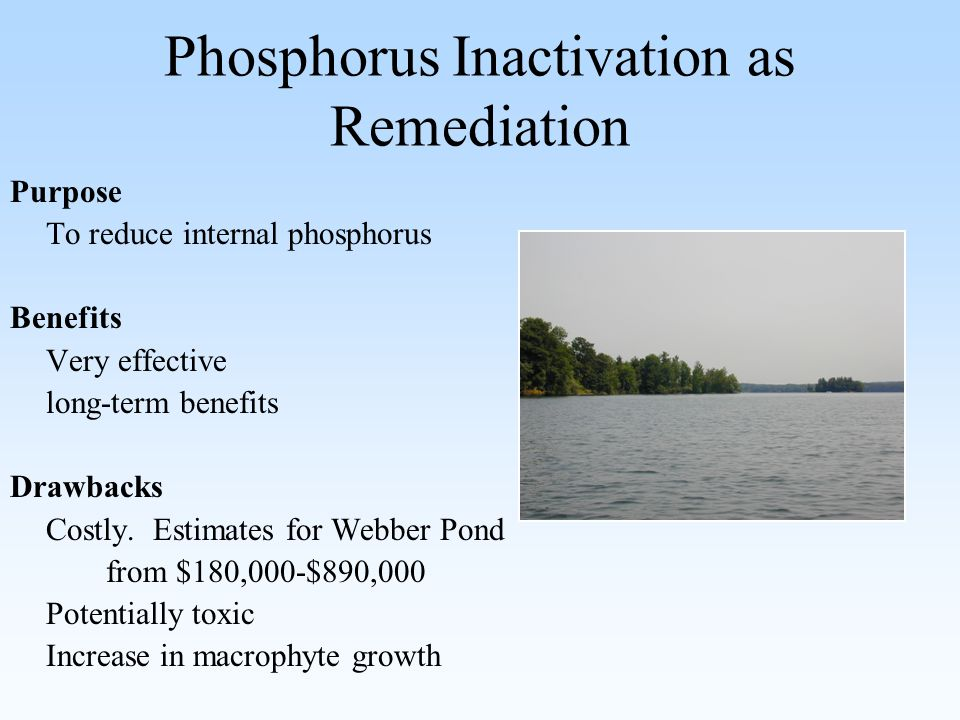 Phosphorus Inactivation as Remediation Purpose To reduce internal phosphorus Benefits Very effective long-term benefits Drawbacks Costly.