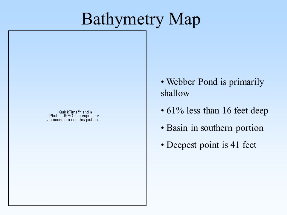 Bathymetry Map Webber Pond is primarily shallow 61% less than 16 feet deep Basin in southern portion Deepest point is 41 feet