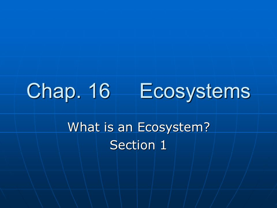 Chap. 16 Ecosystems What is an Ecosystem Section 1