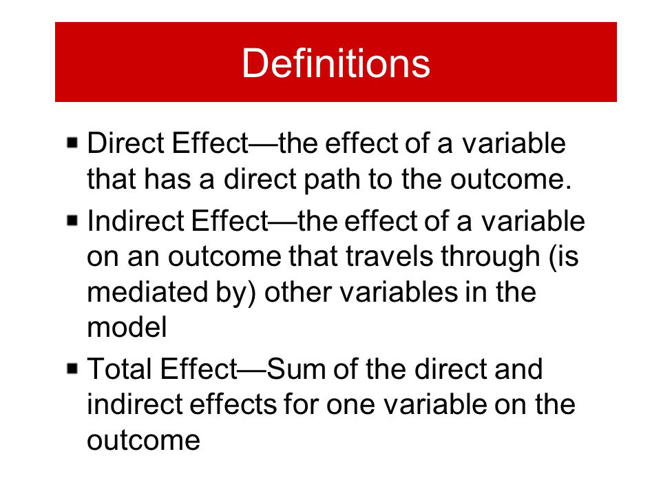 Definitions Direct Effect—the effect of a variable that has a direct path to the outcome. Indirect Effect—the effect of a variable on an outcome that