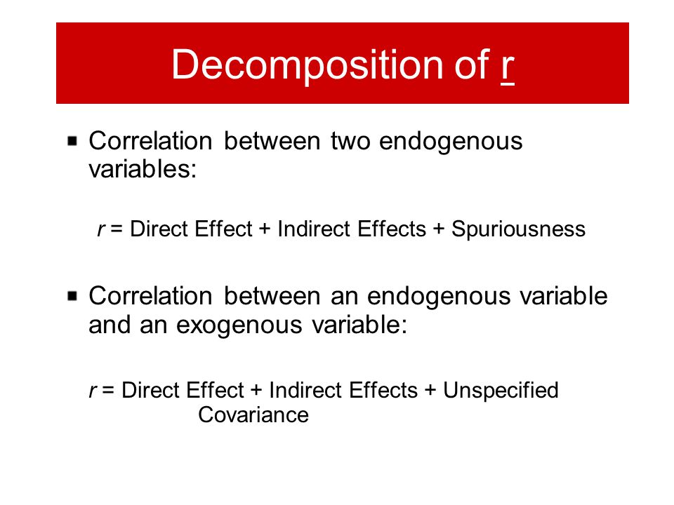 Decomposition of r Correlation between two endogenous variables: r = Direct Effect + Indirect Effects + Spuriousness Correlation between an endogenous