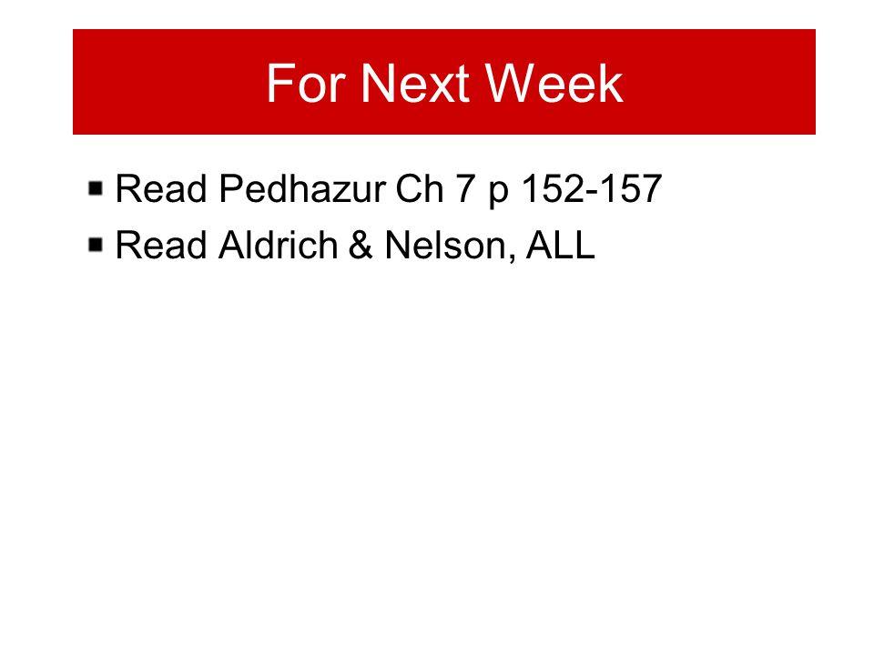 For Next Week Read Pedhazur Ch 7 p 152-157 Read Aldrich & Nelson, ALL