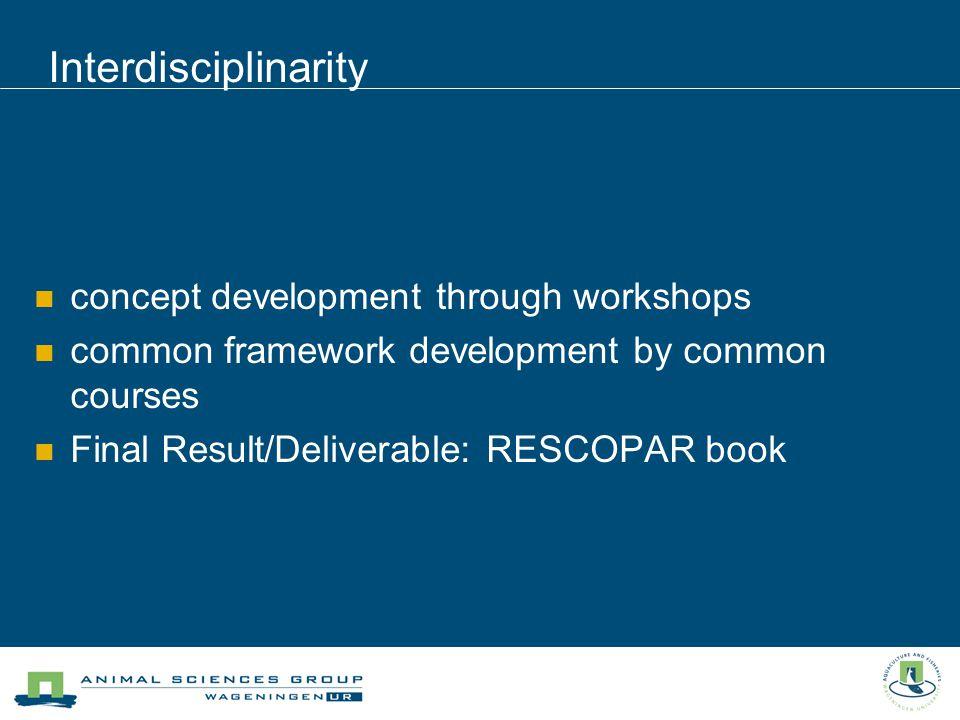 concept development through workshops common framework development by common courses Final Result/Deliverable: RESCOPAR book Interdisciplinarity