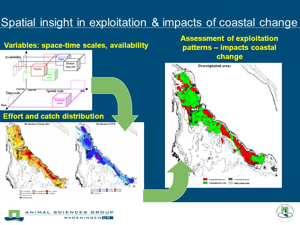Spatial insight in exploitation & impacts of coastal change Variables: space-time scales, availability Effort and catch distribution Assessment of exploitation patterns – impacts coastal change