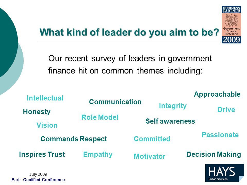 July 2009 Part - Qualified Conference What kind of leader do you aim to be.