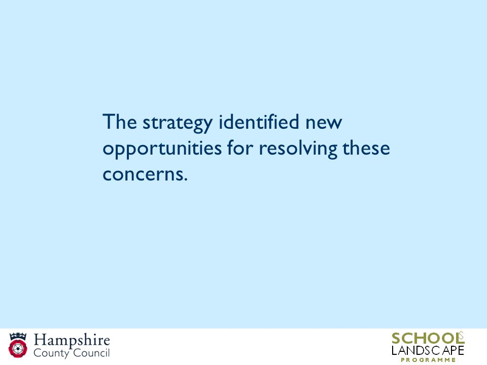 The strategy identified new opportunities for resolving these concerns.