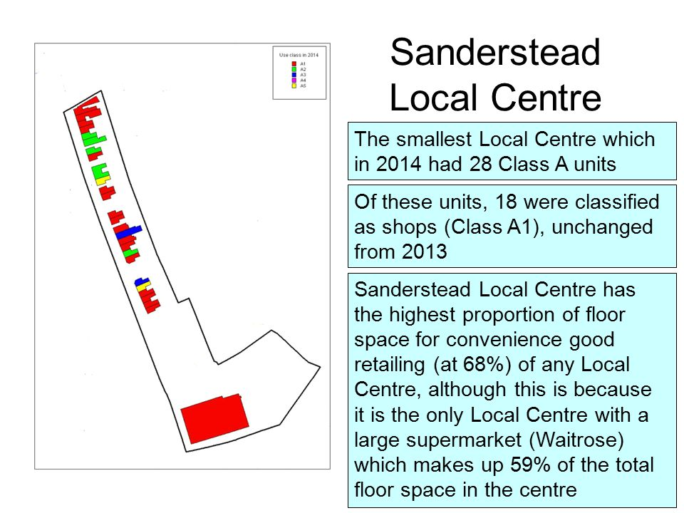 The smallest Local Centre which in 2014 had 28 Class A units Of these units, 18 were classified as shops (Class A1), unchanged from 2013 Sanderstead Local Centre Sanderstead Local Centre has the highest proportion of floor space for convenience good retailing (at 68%) of any Local Centre, although this is because it is the only Local Centre with a large supermarket (Waitrose) which makes up 59% of the total floor space in the centre