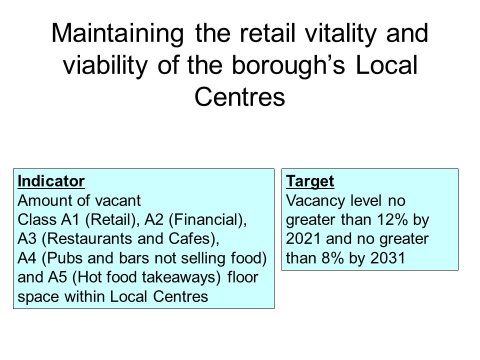 In 2014 there were 60 Class A units in Broad Green Local Centre, unchanged from 2013 Of these units, 36 were classified as shops (Class A1) Broad Green Local Centre Just under half of the floor space in Broad Green is used by the service sector and around a third of the floor space is for convenience goods retailers