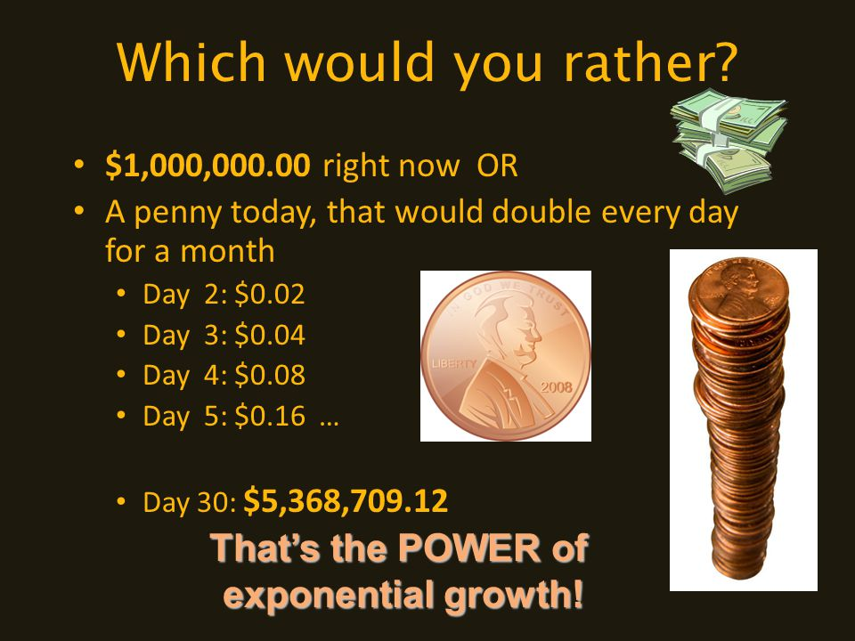 Which would you rather? $1,000,000.00 right now OR A penny today, that would double every day for a month Day 2: $0.02 Day 3: $0.04 Day 4: $0.08 Day 5