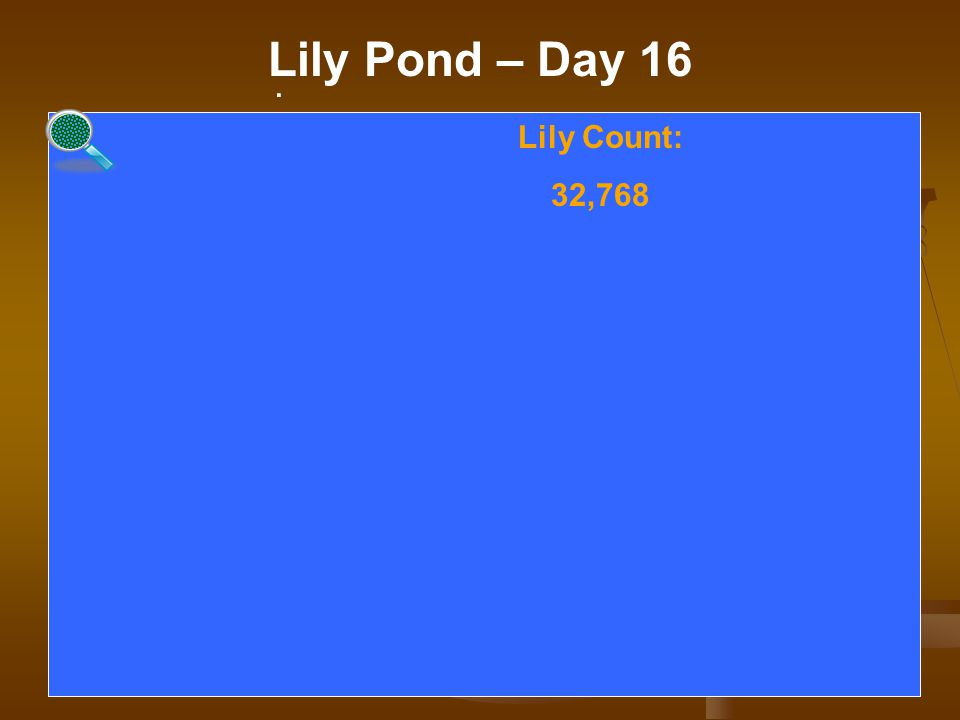 . Lily Pond – Day 16. Lily Count: 32,768