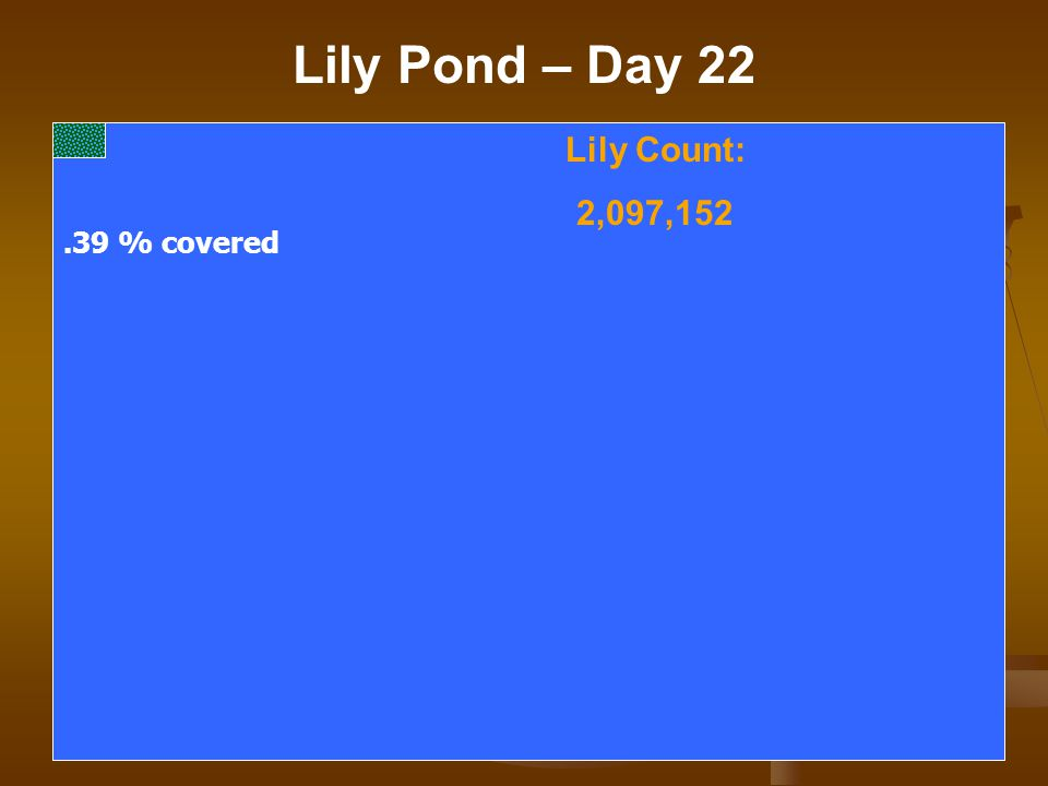 Lily Pond – Day 22 Lily Count: 2,097,152.39 % covered