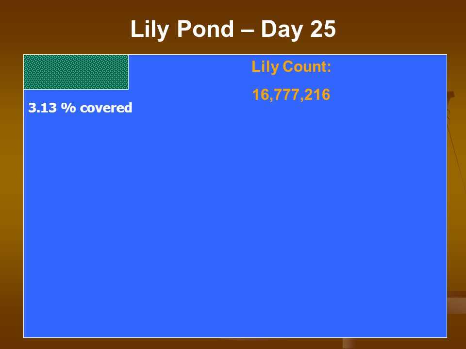 Lily Pond – Day 25 Lily Count: 16,777,216 3.13 % covered