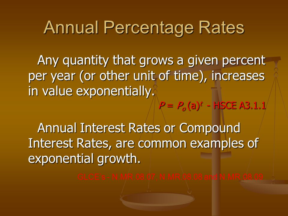 Annual Percentage Rates Any quantity that grows a given percent per year (or other unit of time), increases in value exponentially.