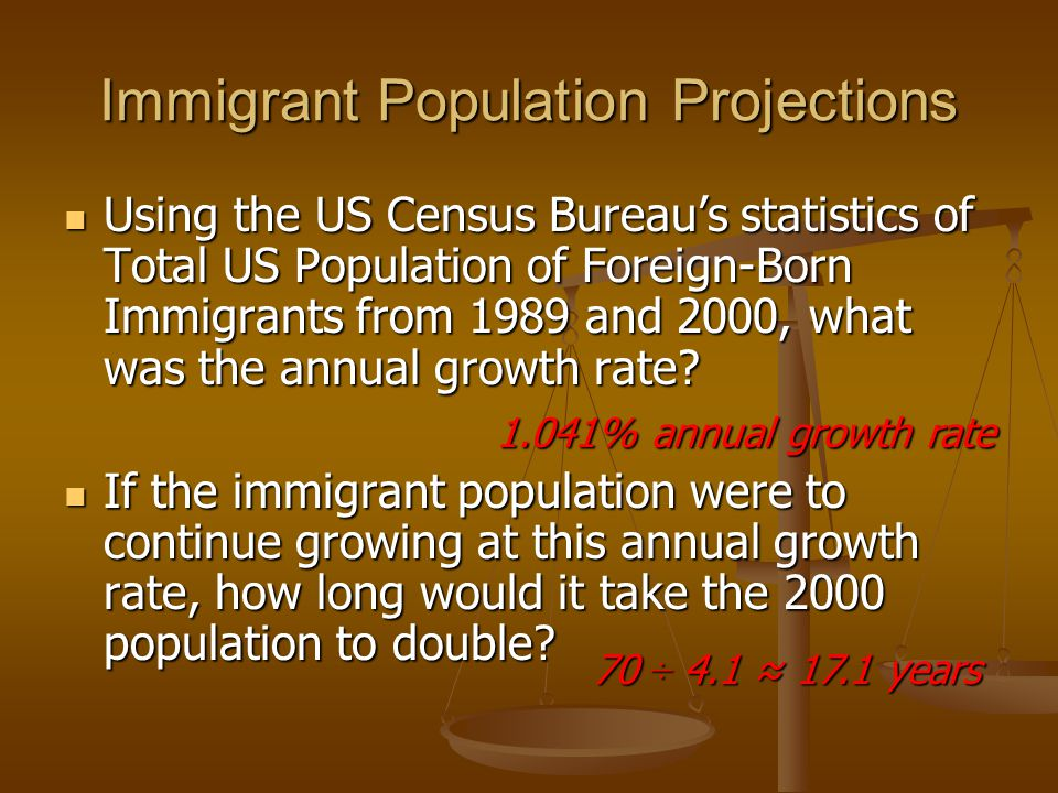 Immigrant Population Projections Using the US Census Bureau's statistics of Total US Population of Foreign-Born Immigrants from 1989 and 2000, what was the annual growth rate.