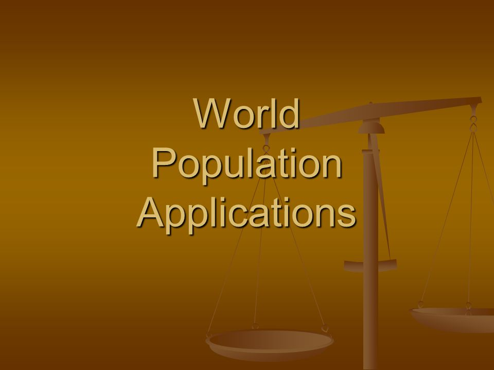 World Population Applications