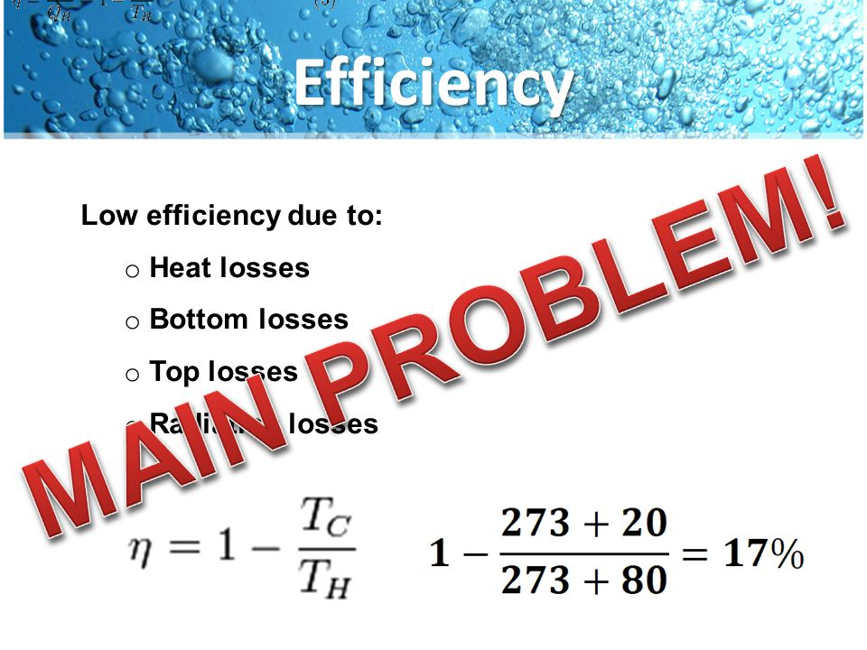 Low efficiency due to: o Heat losses o Bottom losses o Top losses o Radiation losses Efficiency
