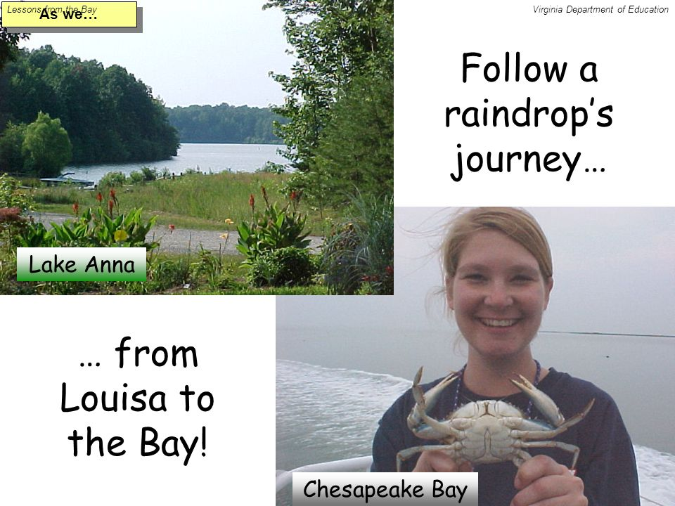 Follow a raindrop's journey… Lake Anna Chesapeake Bay … from Louisa to the Bay.