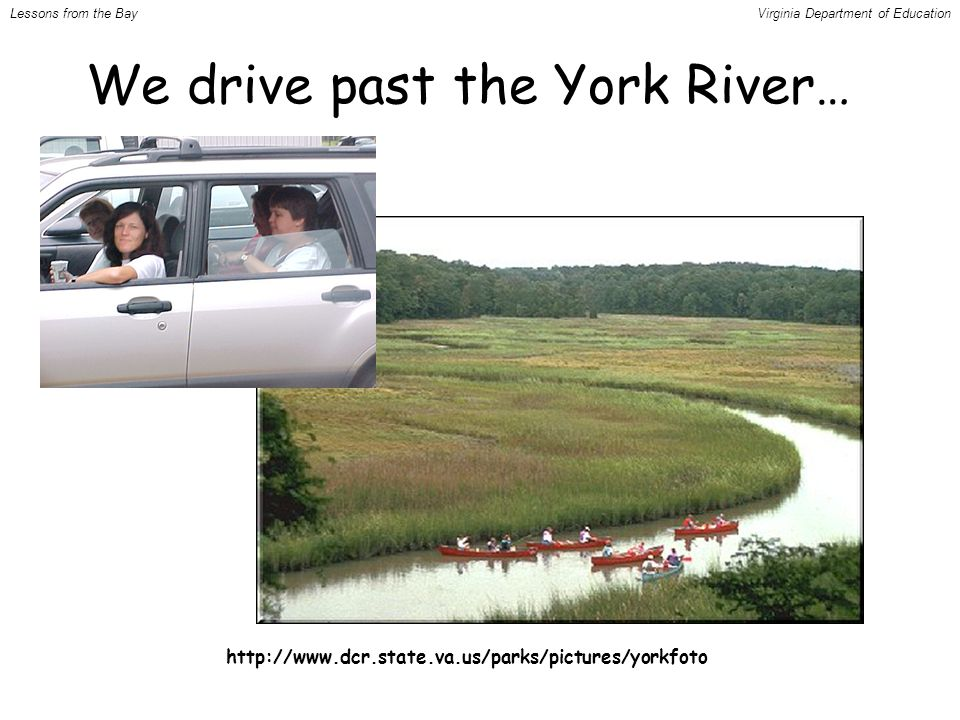 http://www.dcr.state.va.us/parks/pictures/yorkfoto We drive past the York River… Lessons from the BayVirginia Department of Education