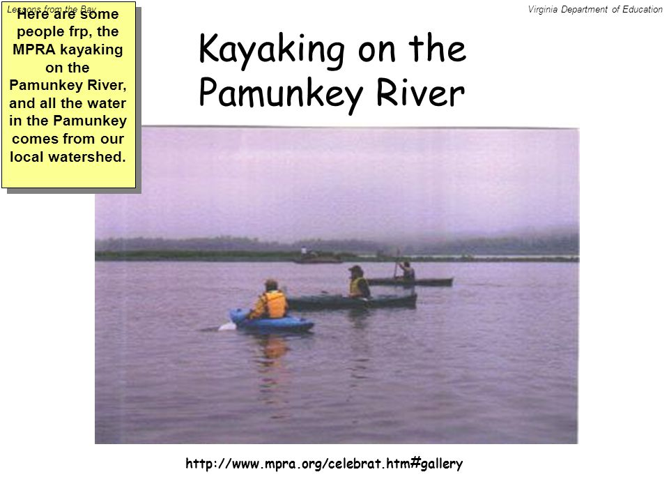 http://www.mpra.org/celebrat.htm#gallery Kayaking on the Pamunkey River Here are some people frp, the MPRA kayaking on the Pamunkey River, and all the water in the Pamunkey comes from our local watershed.