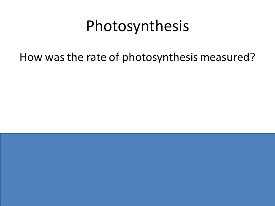 Photosynthesis How was the rate of photosynthesis measured? Counted bubbles or measured volume / per unit time OR Datalogging / named sensor (or menti