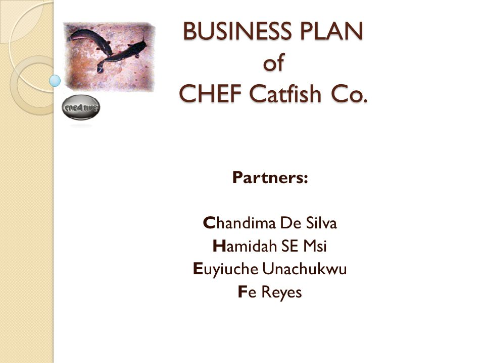BUSINESS PLAN of CHEF Catfish Co. Partners: Chandima De Silva Hamidah SE Msi Euyiuche Unachukwu Fe Reyes