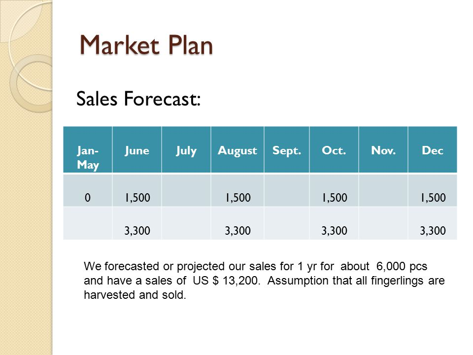 Market Plan Sales Forecast: Jan- May JuneJulyAugustSept.Oct.Nov.Dec 01,500 3,300 We forecasted or projected our sales for 1 yr for about 6,000 pcs and