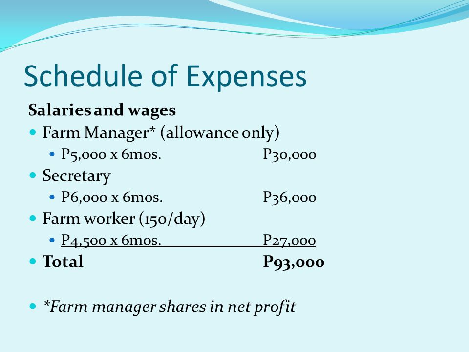 Schedule of Expenses Salaries and wages Farm Manager* (allowance only) P5,000 x 6mos.P30,000 Secretary P6,000 x 6mos.P36,000 Farm worker (150/day) P4,