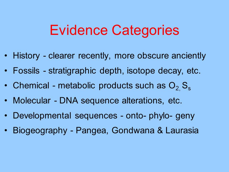 Evidence Categories History - clearer recently, more obscure anciently Fossils - stratigraphic depth, isotope decay, etc.