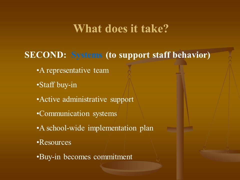 What does it take? SECOND: Systems (to support staff behavior) A representative team Staff buy-in Active administrative support Communication systems