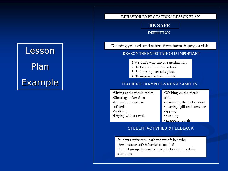 LessonPlanExample BEHAVIOR EXPECTATIONS LESSON PLAN BE SAFE DEFINITION Keeping yourself and others from harm, injury, or risk.