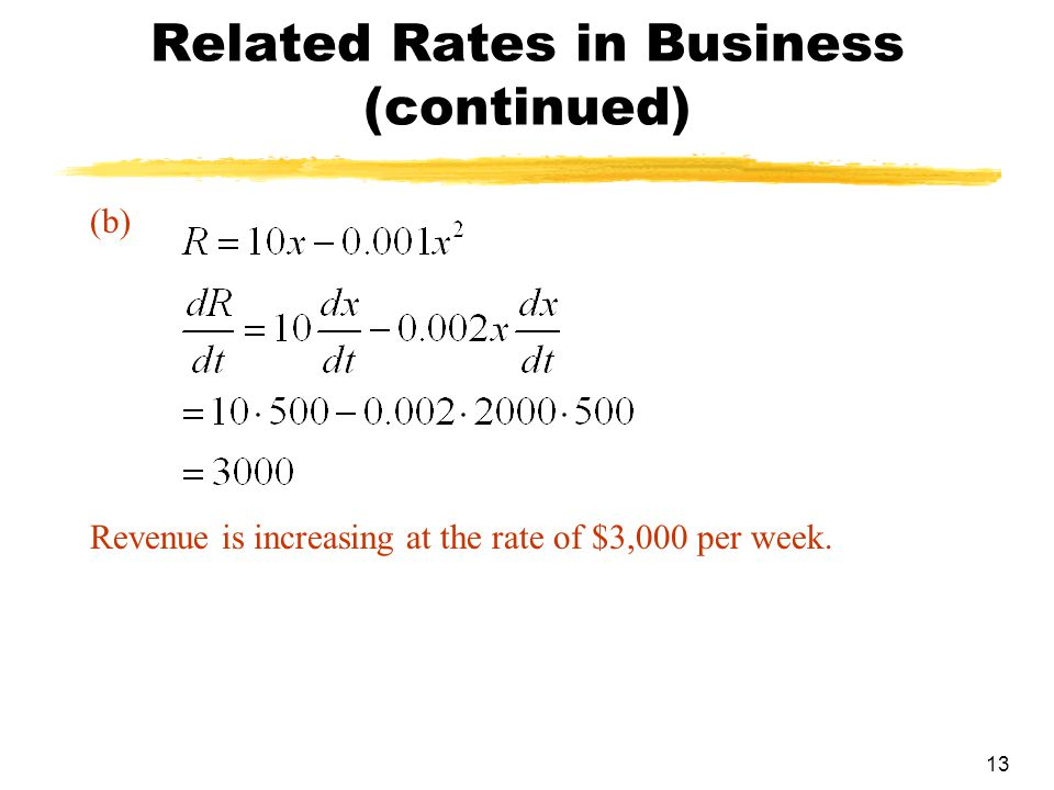 13 Related Rates in Business (continued) (b) Revenue is increasing at the rate of $3,000 per week.