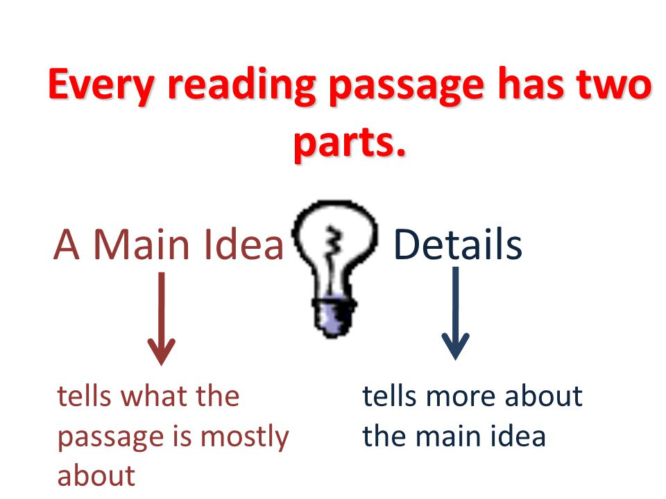 Every reading passage has two parts.