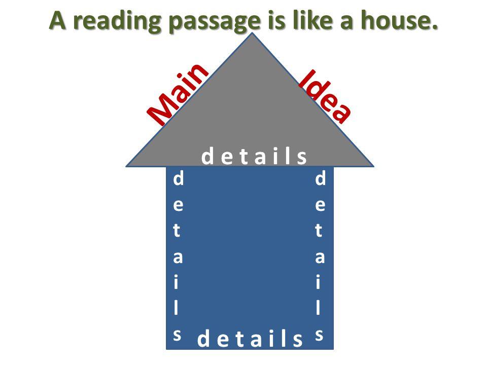 A reading passage is like a house. M a i n I d e a detailsdetails detailsdetails d e t a i l s