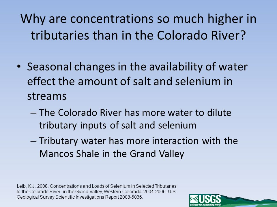 Why are concentrations so much higher in tributaries than in the Colorado River.