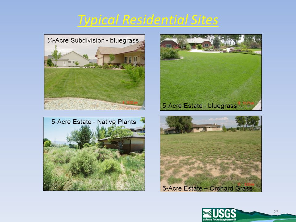23 Typical Residential Sites 5-Acre Estate - bluegrass ¼-Acre Subdivision - bluegrass 5-Acre Estate - Native Plants 5-Acre Estate – Orchard Grass