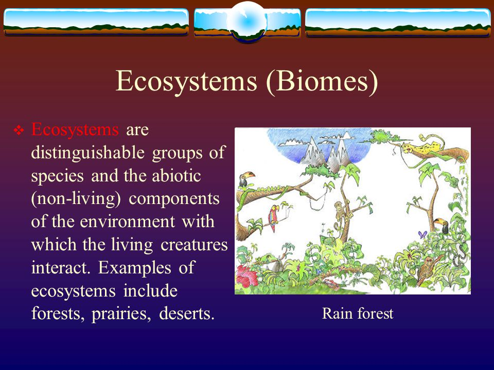 Ecosystems (Biomes)  Ecosystems are distinguishable groups of species and the abiotic (non-living) components of the environment with which the livin