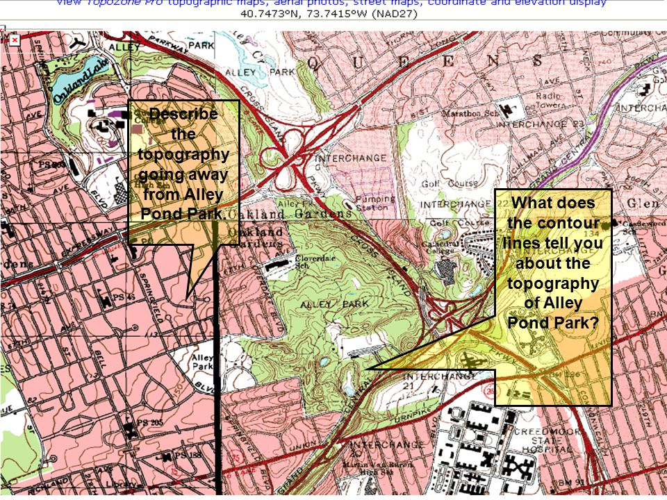 What does the contour lines tell you about the topography of Alley Pond Park? Describe the topography going away from Alley Pond Park.
