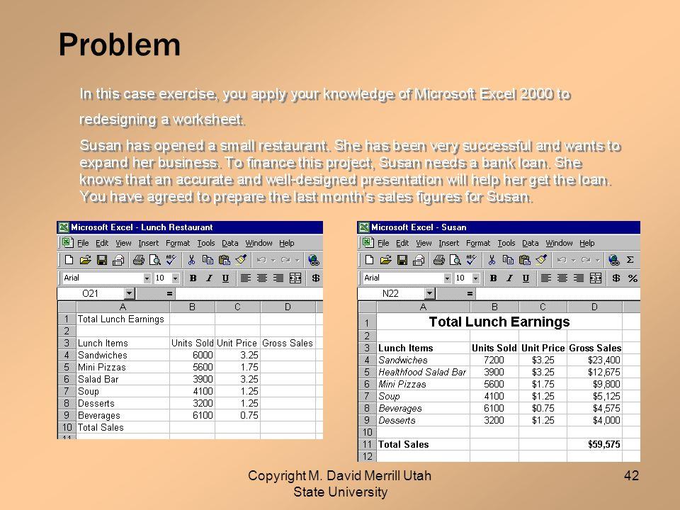 Copyright M. David Merrill Utah State University 42 Problem