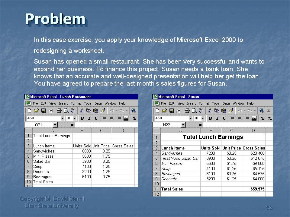 Copyright M. David Merrill Utah State University 63ProblemProblem