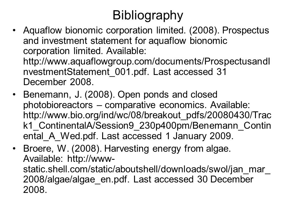 Aquaflow bionomic corporation limited. (2008).