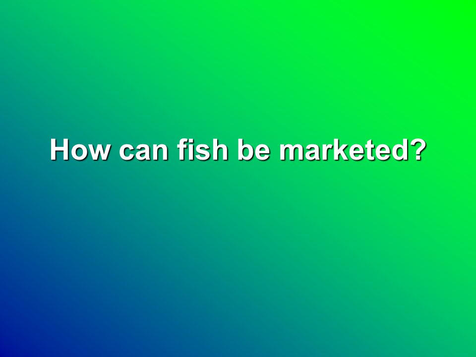 How can fish be marketed