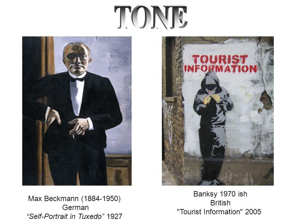 Max Beckmann (1884-1950) German Self-Portrait in Tuxedo 1927 Banksy 1970 ish British Tourist Information 2005