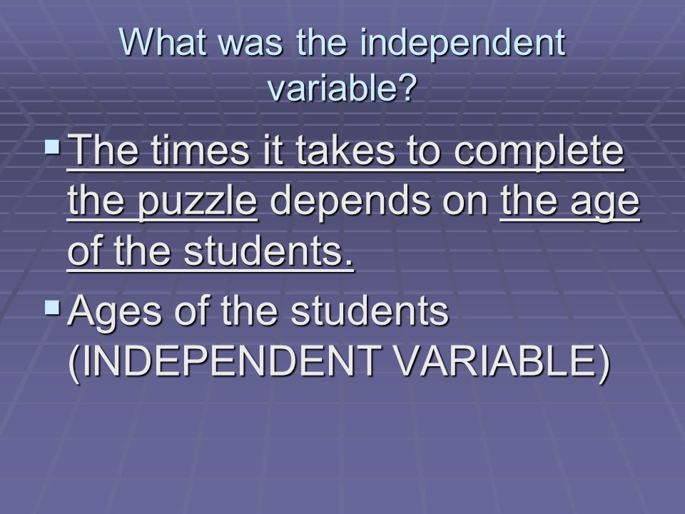 What was the independent variable.
