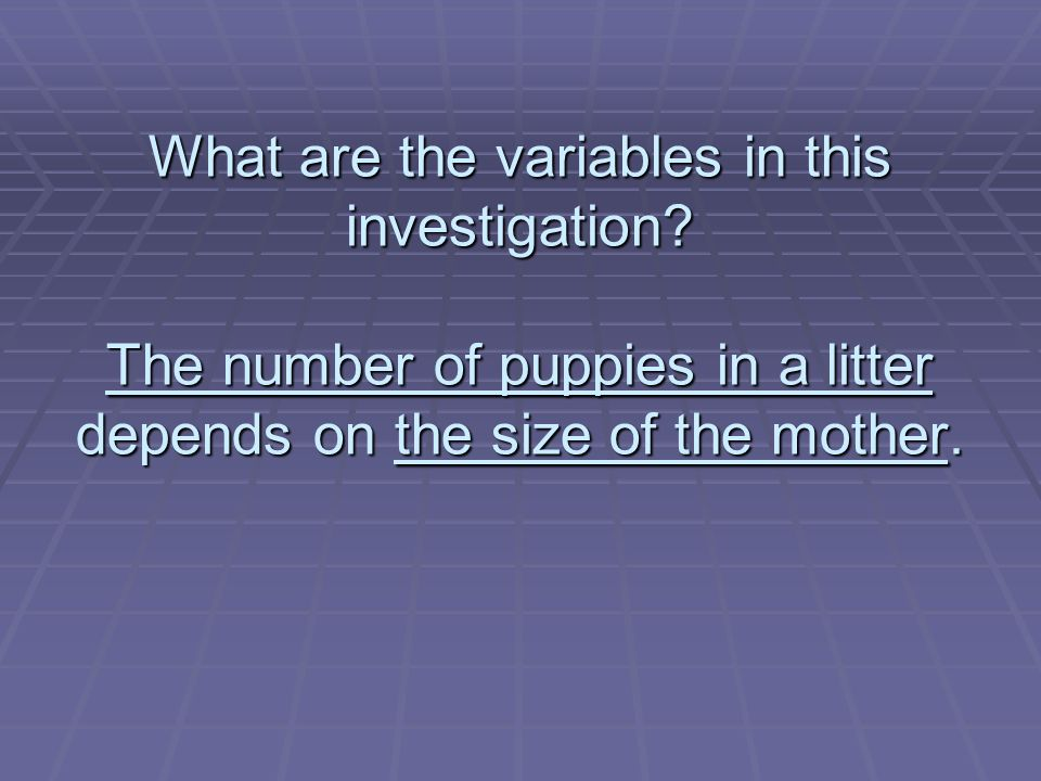 What are the variables in this investigation.