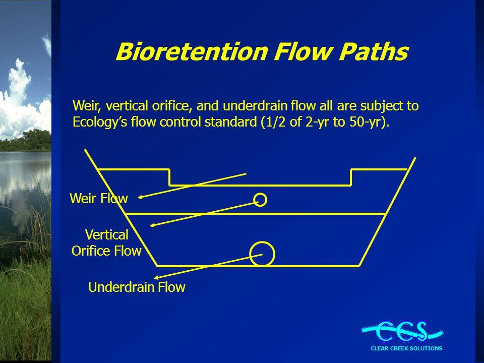 Bioretention Flow Paths Weir Flow Underdrain Flow Vertical Orifice Flow Weir, vertical orifice, and underdrain flow all are subject to Ecology's flow