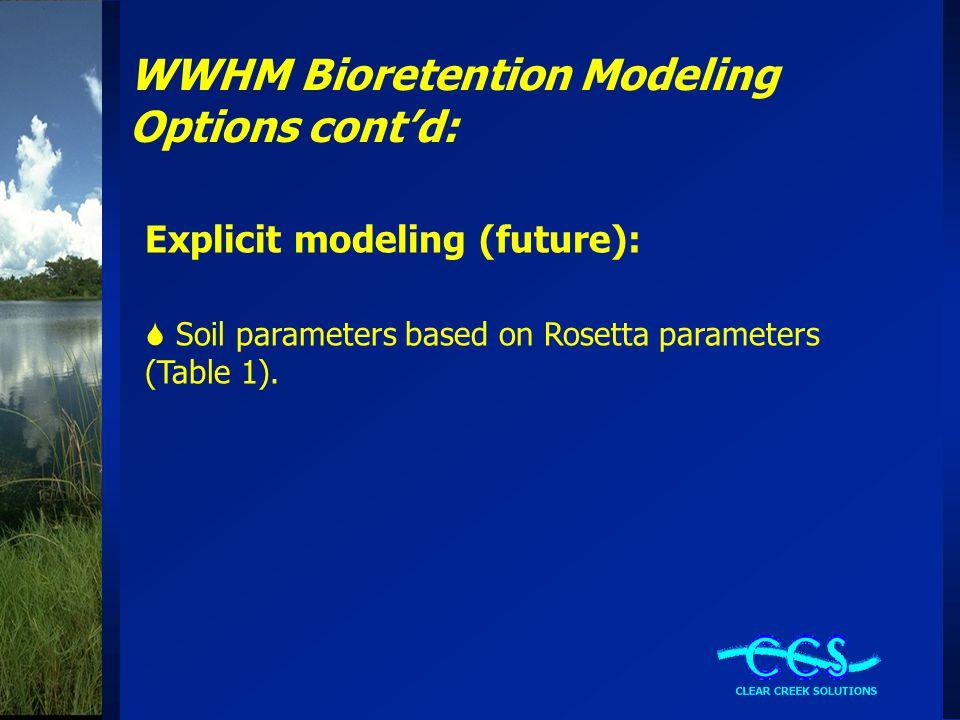 WWHM Bioretention Modeling Options cont'd: Explicit modeling (future):  Soil parameters based on Rosetta parameters (Table 1).